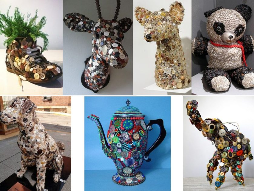 animal figures with buttons