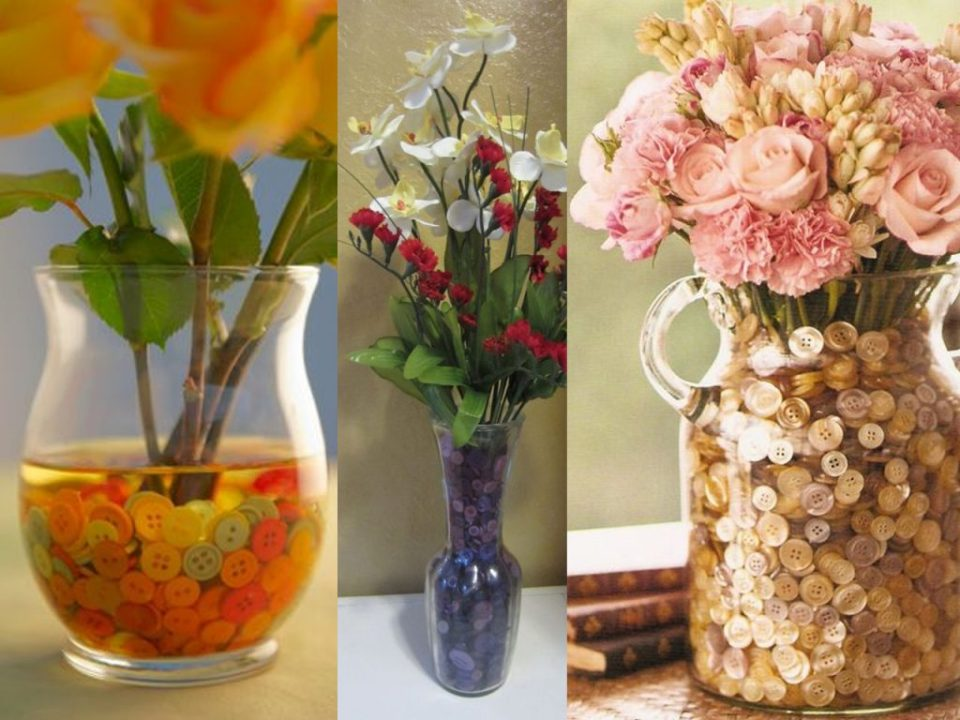 flower vases with colored buttons