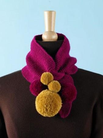 pompoms in scarves