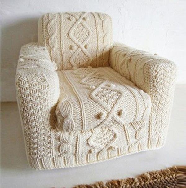 Armchair with knitted cover