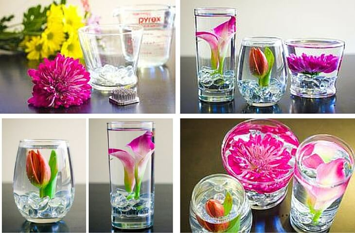 Submerged flowers - easy crafts for spring