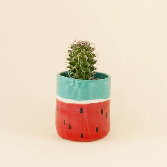 Flowerpot decorated like a watermelon - easy crafts