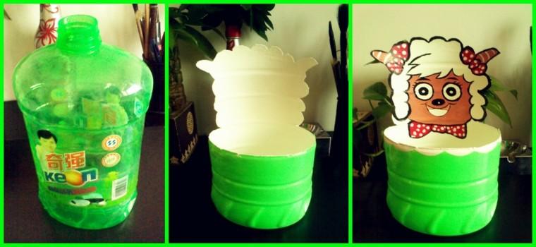 green plastic bottle trimmed