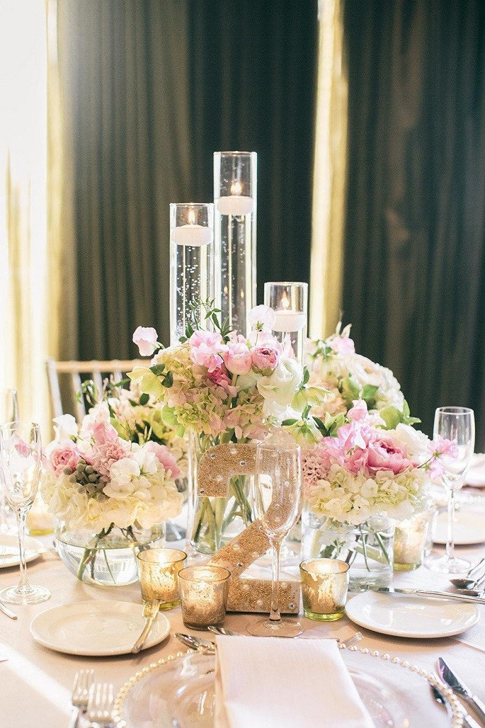 centers table precious weddings white light pink ideas