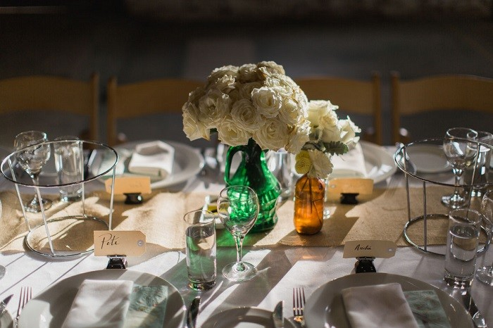 centers table precious weddings glass bottles colors ideas