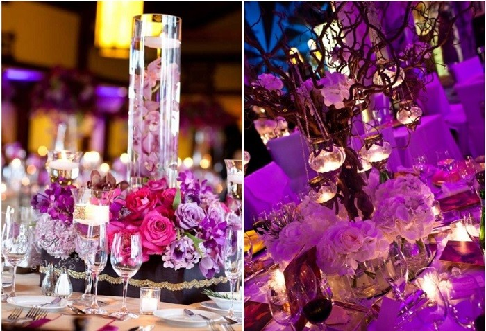 centers table precious weddings theme purple ideas