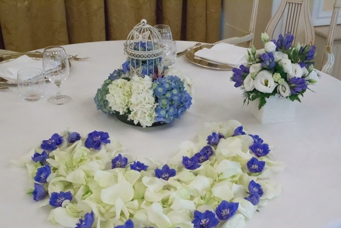 Wedding centers white flowers purple ideas