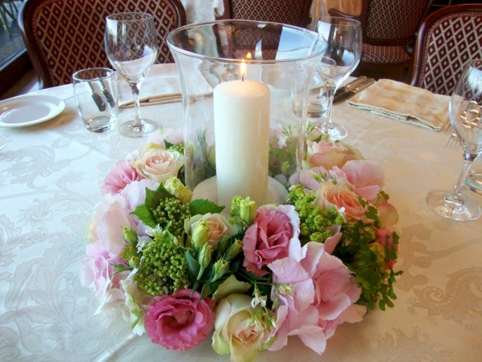centers table weddings nest flowers candles ideas