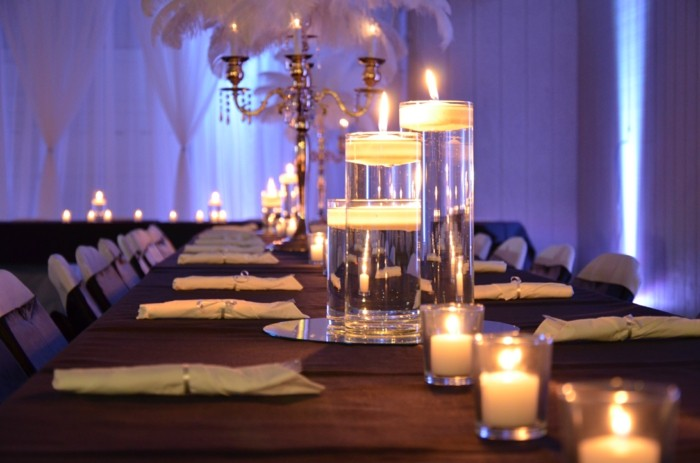 centers table weddings candles water ideas