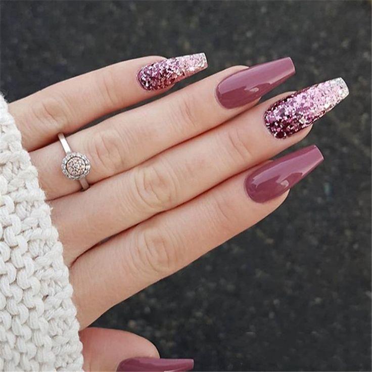 Elegant Purple Glitter Coffin Nails
