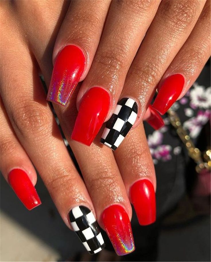 Red Glitter Coffin Nails  Makeup Inspiration
