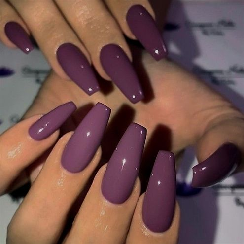 Plum Purple on long Coffin Nails
