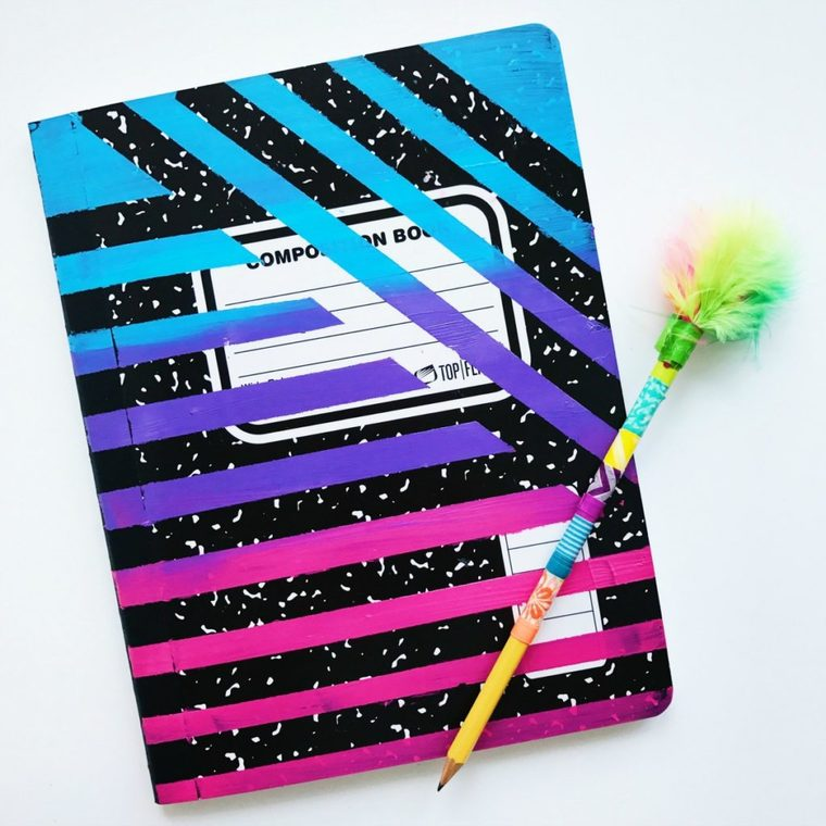 adhesive decorated notebooks