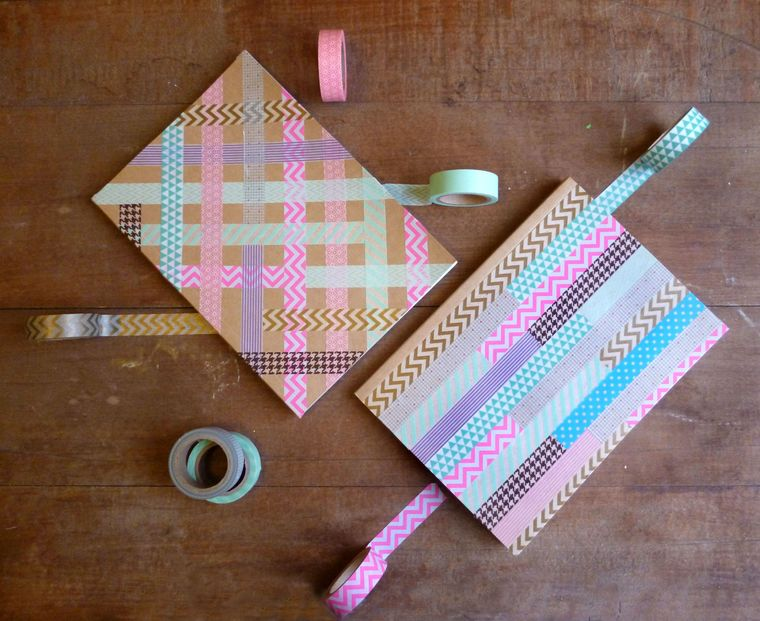 tape decorated notebooks