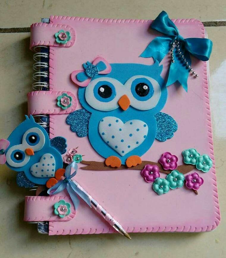owl decorated notebooks