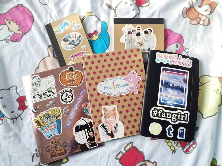 different decorated notebooks
