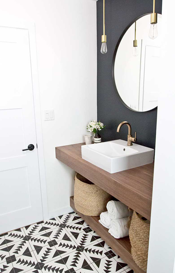 A small black and white bathroom