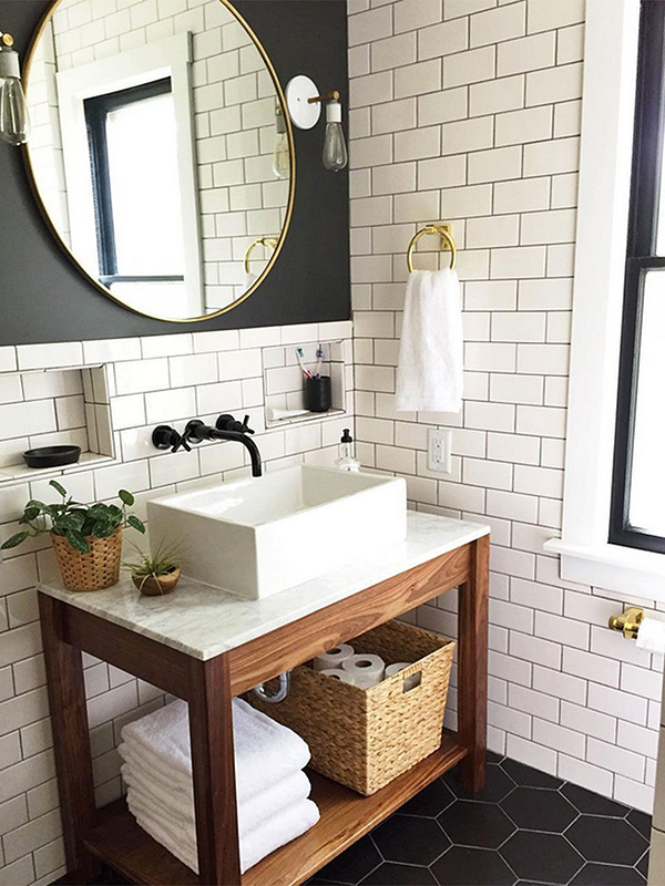 A modern rustic bathroom