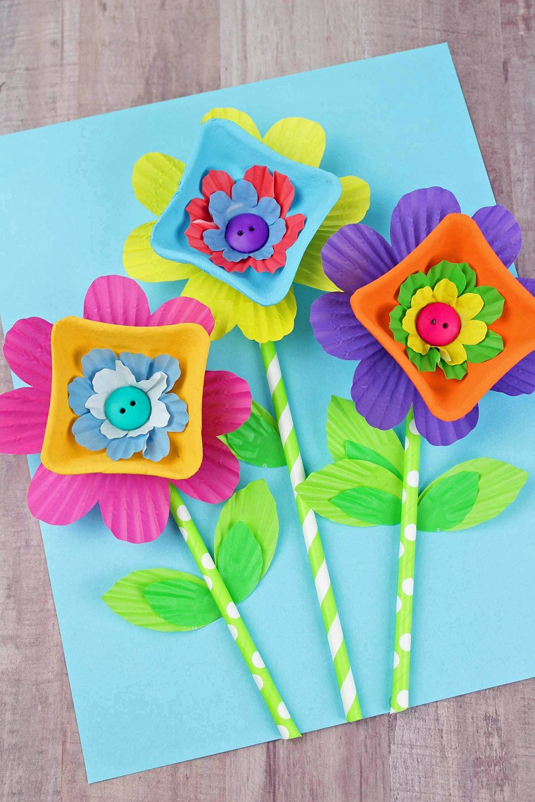 how to make cardboard table flowers