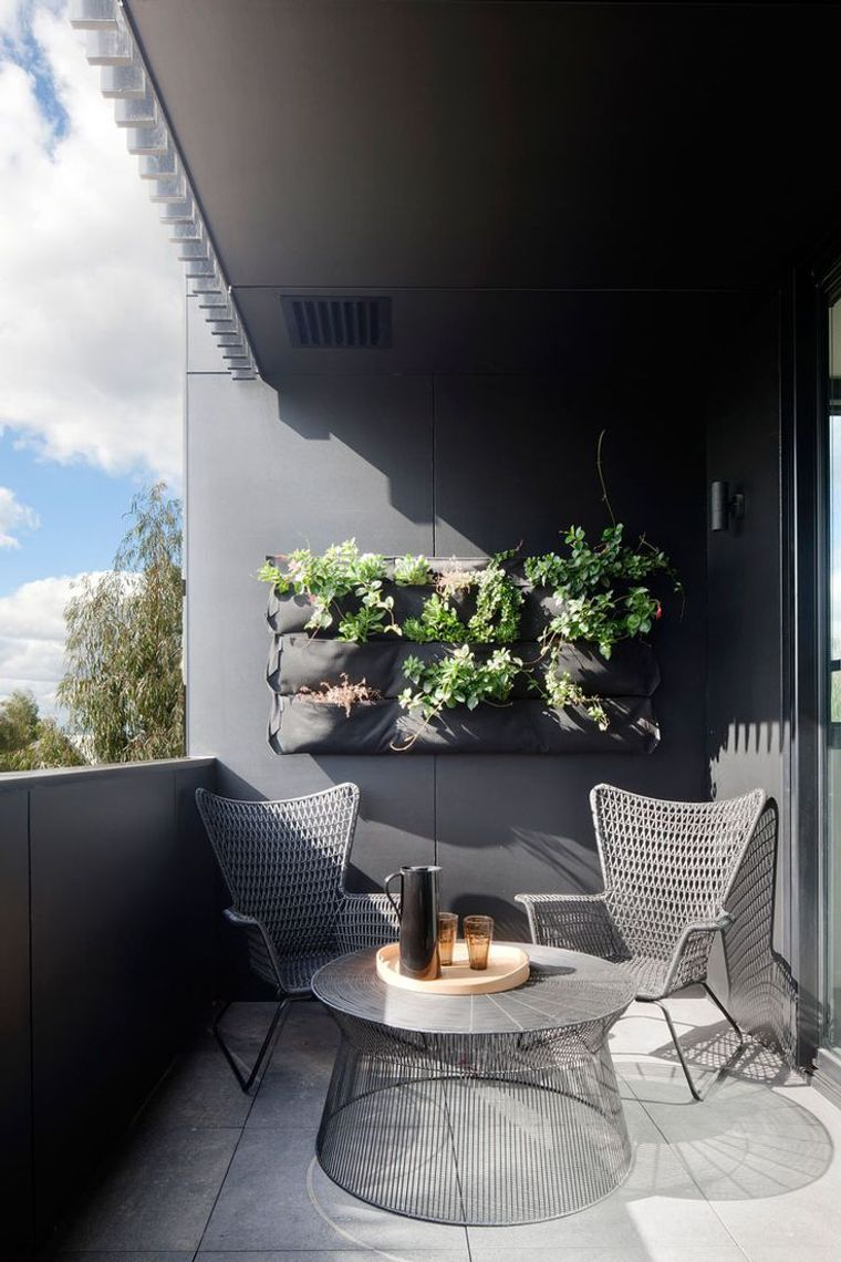 decorate small gray balcony