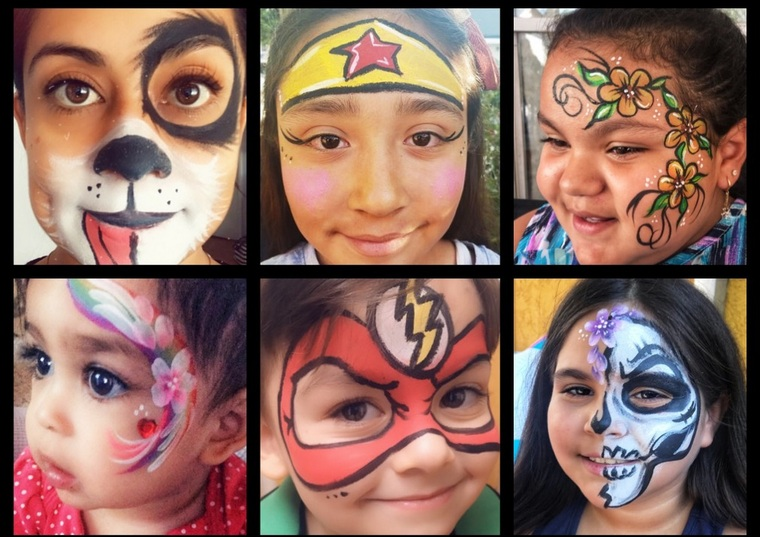 various children's face paint