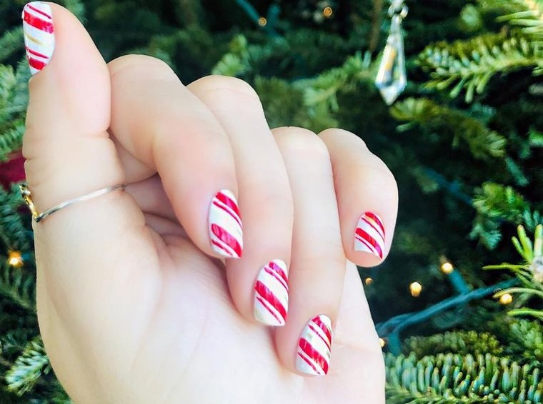 Christmas Nail Designs Candy Lines