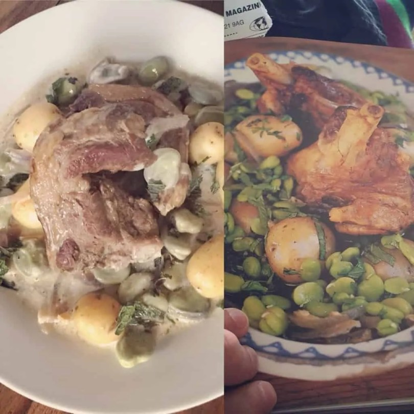 Hogget with broad beans