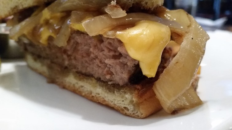 The Laughing Trout, Monroe, WI - Ground Sirloin Burger with Ground Pork Belly, cheese and caramelized onions