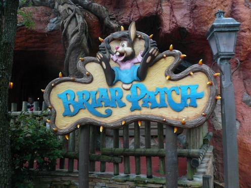 """Briar Patch Sign Splash Mountain Frontierland Magic Kingdom Walt Disney World"" by mrkathika is licensed under CC BY-SA"