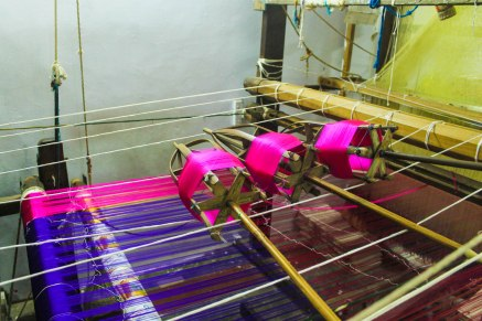 Coloured yarn waiting to be spun