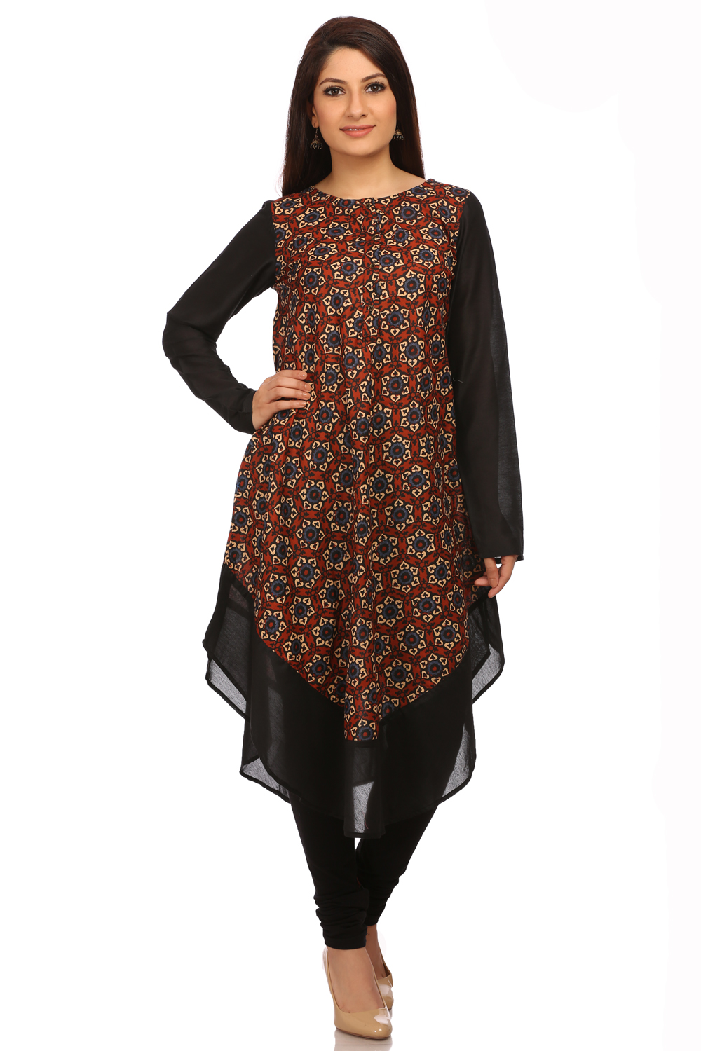 BIBA Rust Poly Cotton Asymmetric Dress