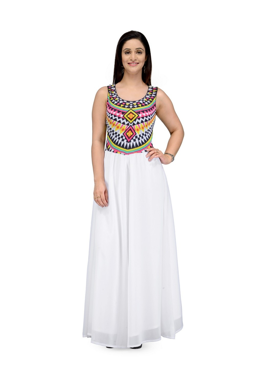 BIBA White Straight Modal Dress