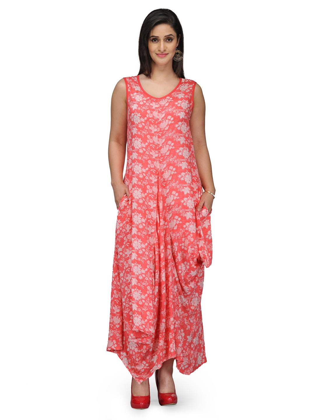 BIBA Coral Red Flared Viscose Dress