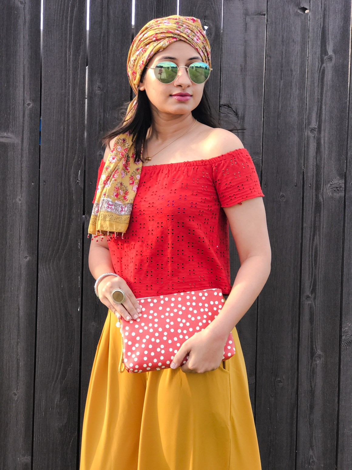 Red off-shoulder top - Zara, Wide leg yellow pants - Zaful, Madewell pouch.