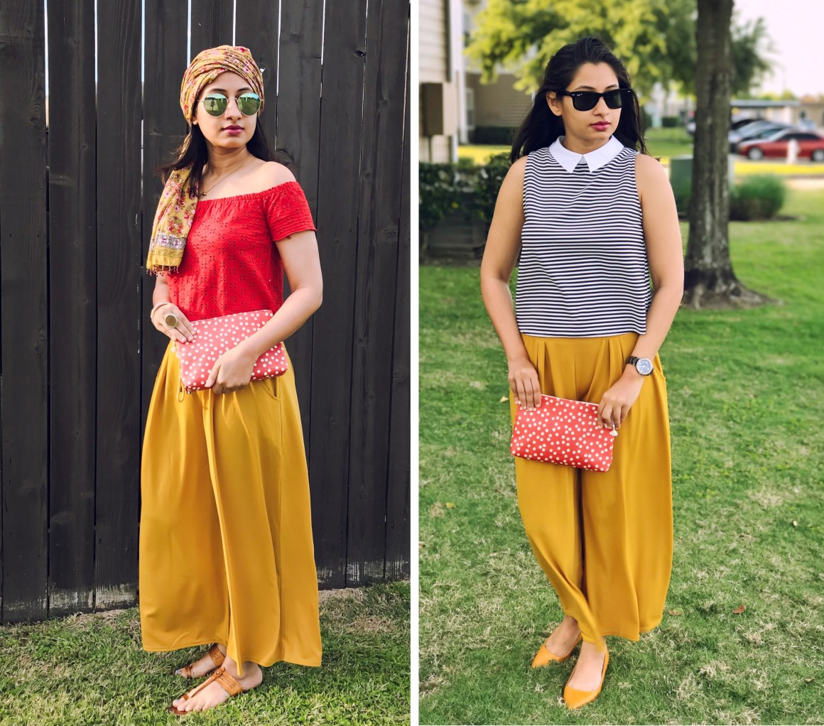 Wide leg yellow pants - Zaful, Madewell pouch, zara tops