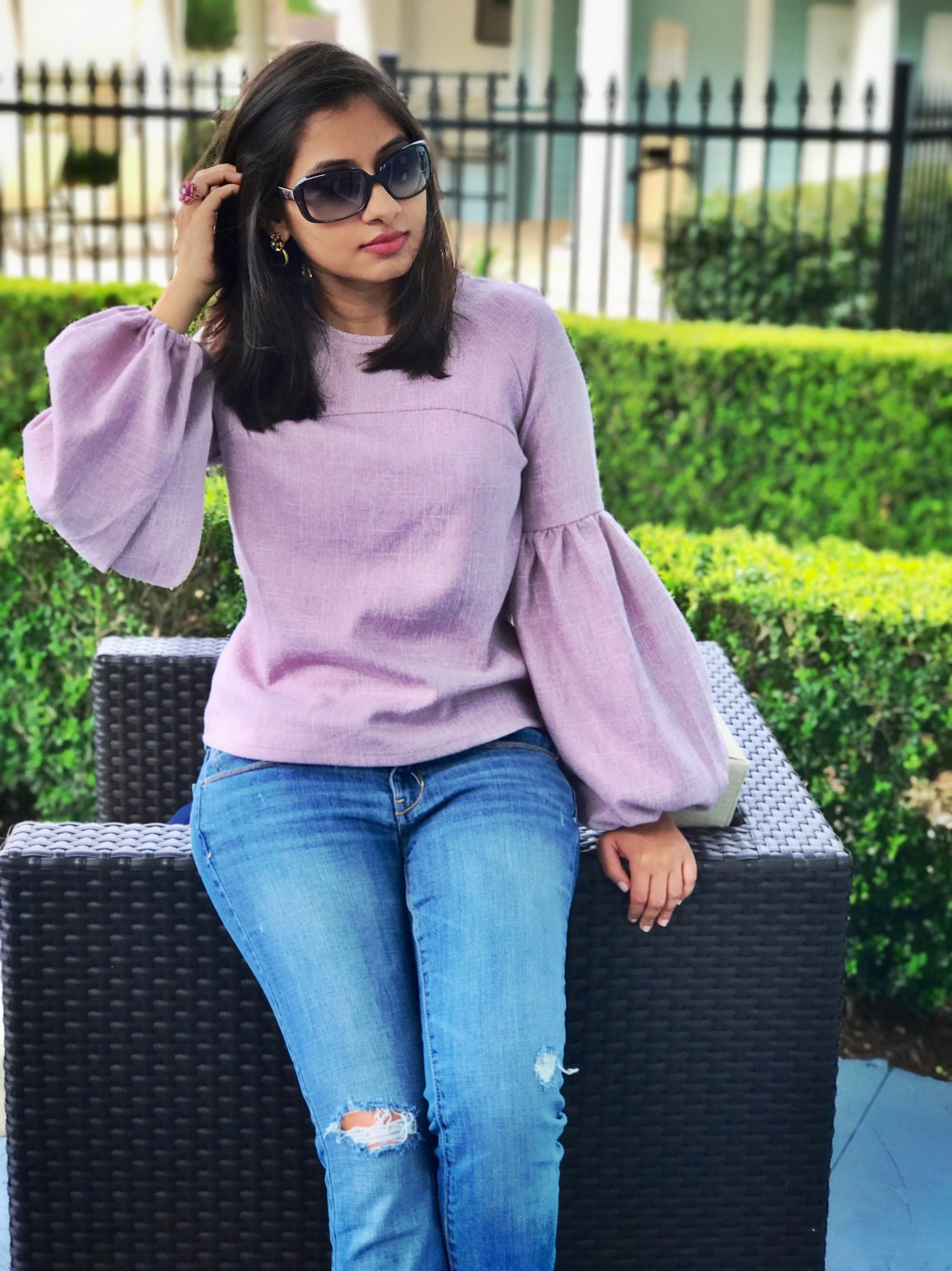 Dramatic Sleeves - Shein top, sunglasses Emporio Armani