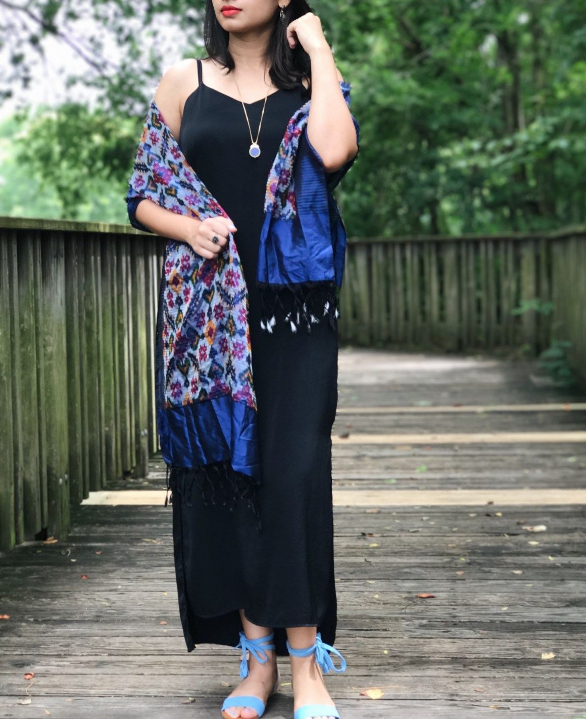 Black Slip Dress, Silk Ikat scarf - Fab India, Madewell necklace.