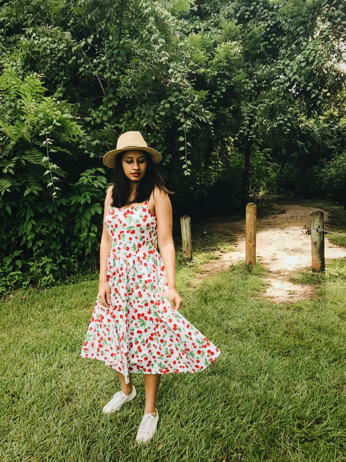 Cherry print dress, Straw hat ASOS, Keds shoes