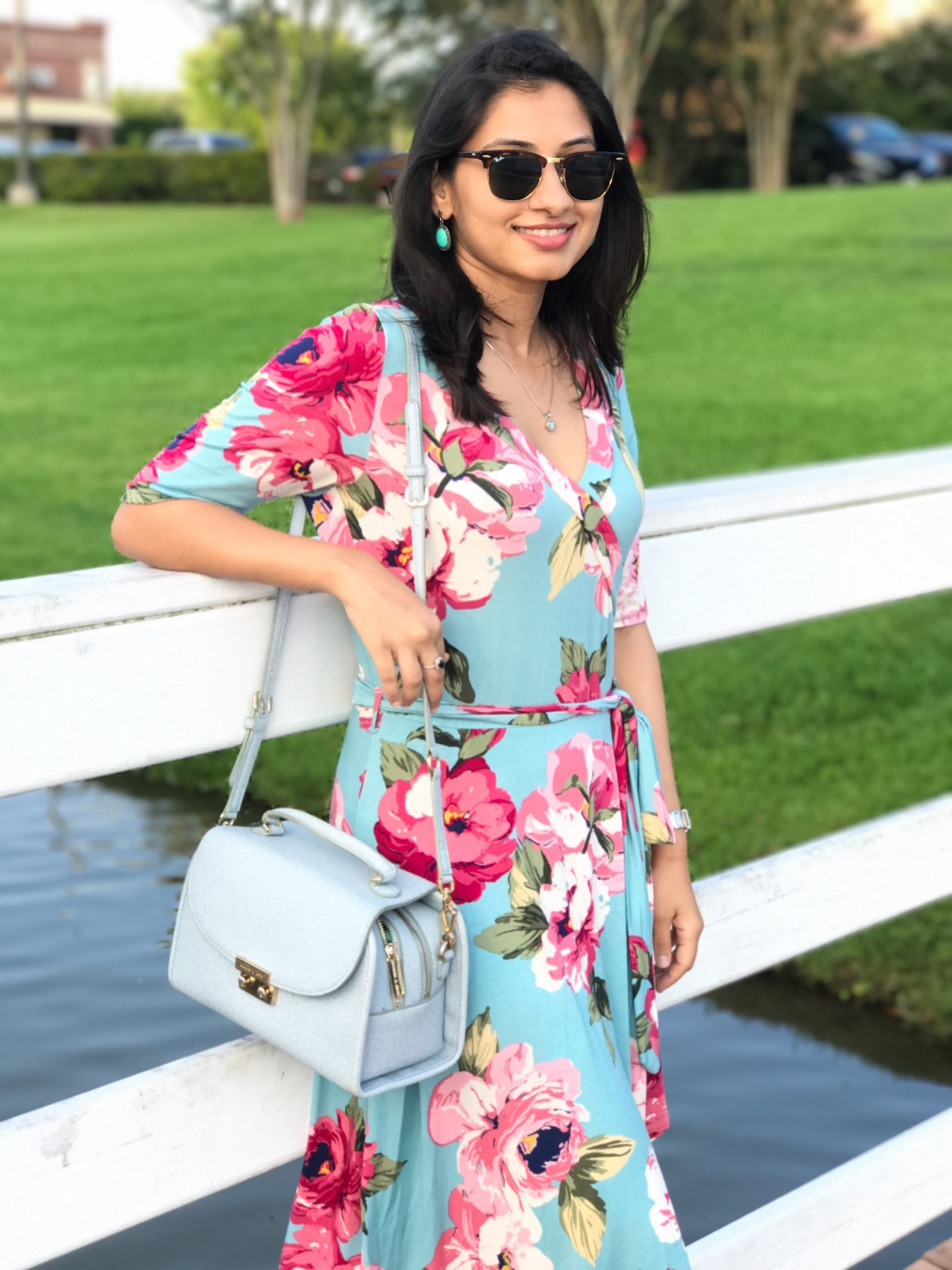 Floral High-Low Dress , Charles & Keith bag