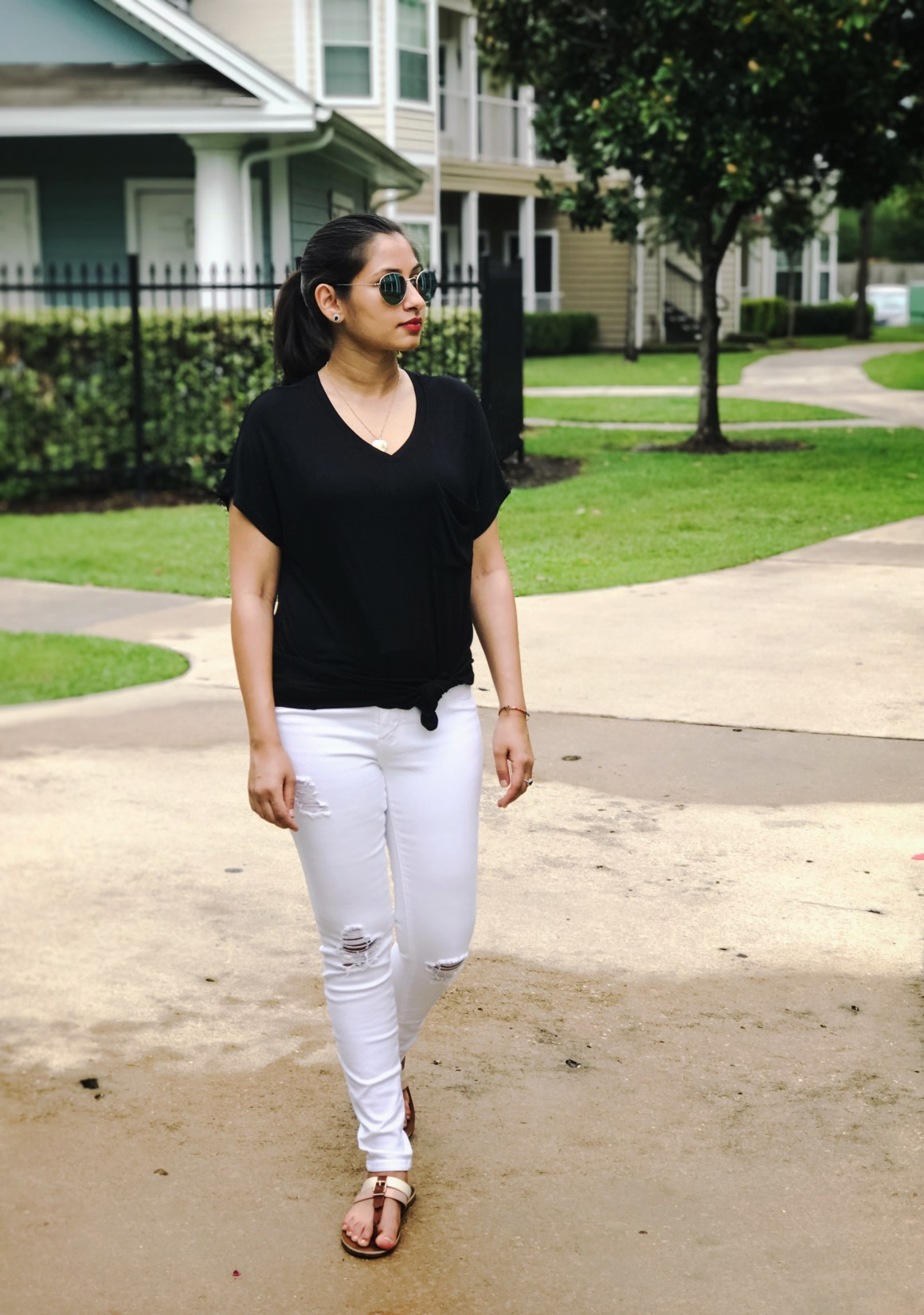 Black t-shirt & white jeans