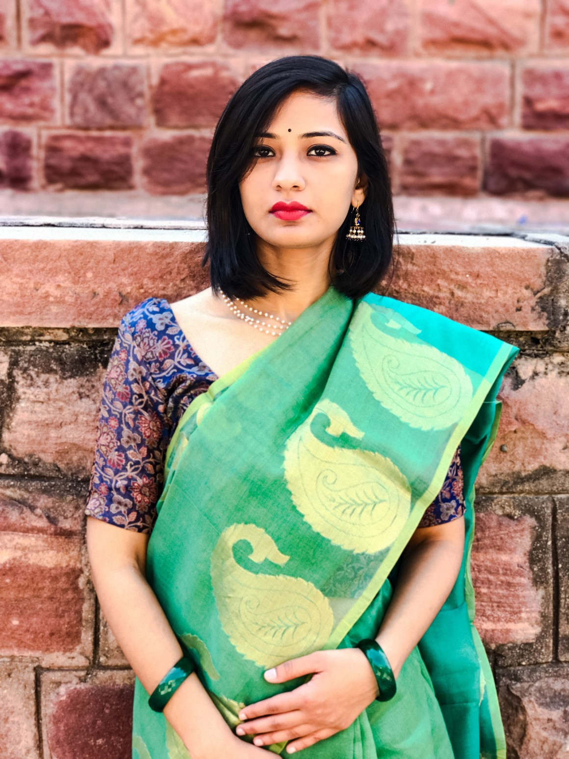 Celebrating the Saree - Green Supernet saree