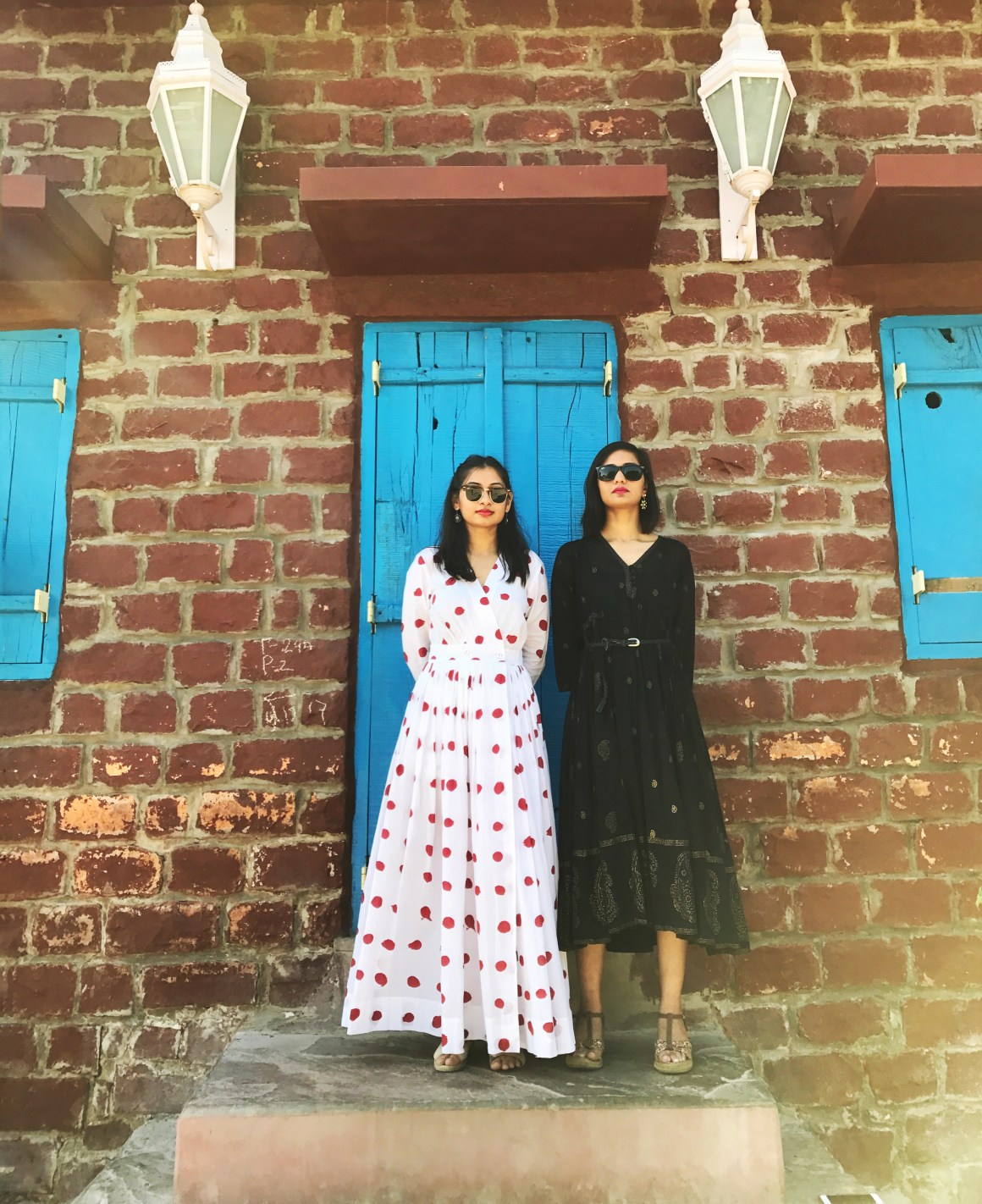 Of Summer Days & Cotton Dresses - Red dots dress - Nicobar, black dress - Anokhi Jaipur