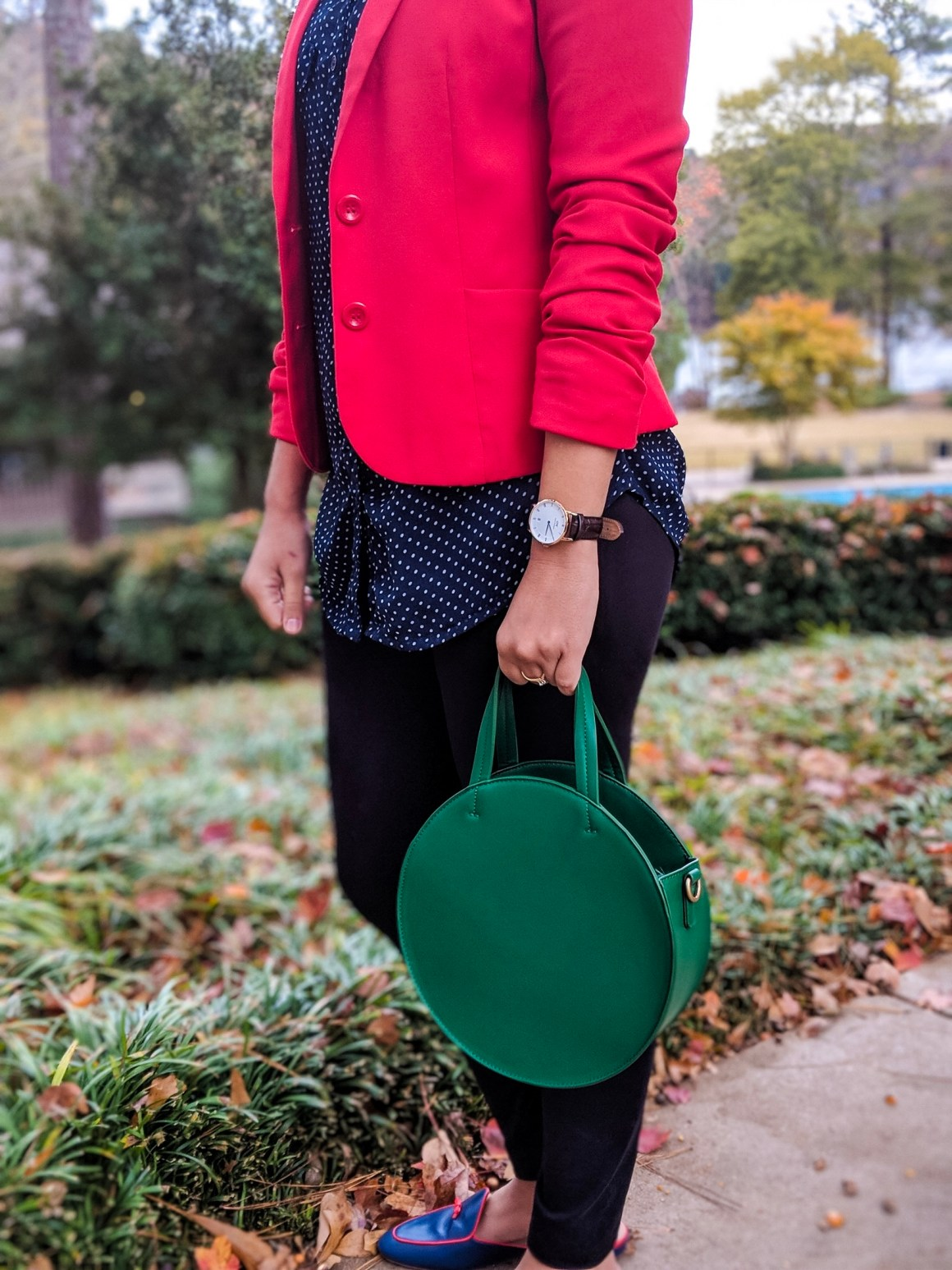 Red Blazer- Green Circle Bag