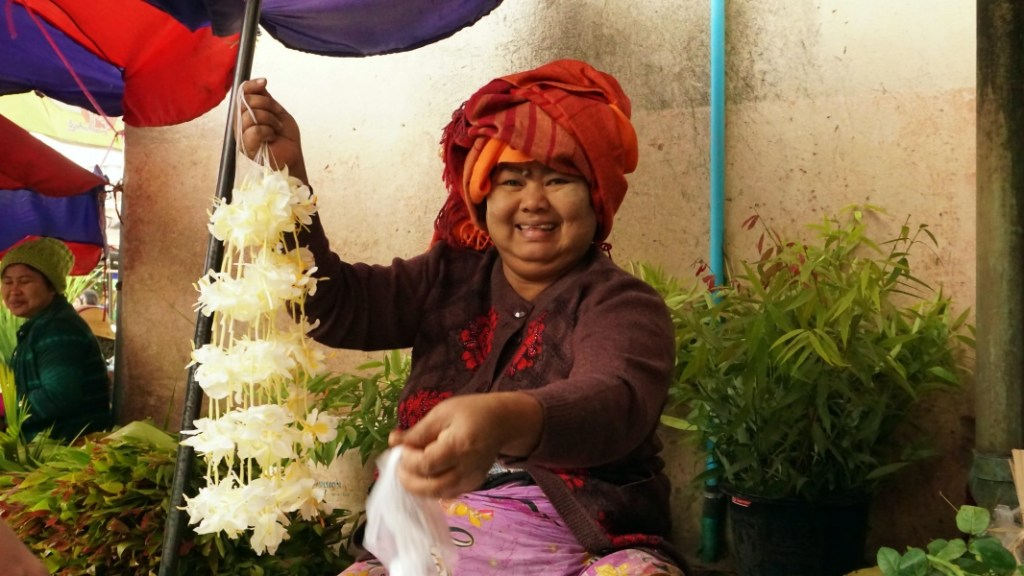 Lady Selling Flowers at Buddhist Temple, Mandalay