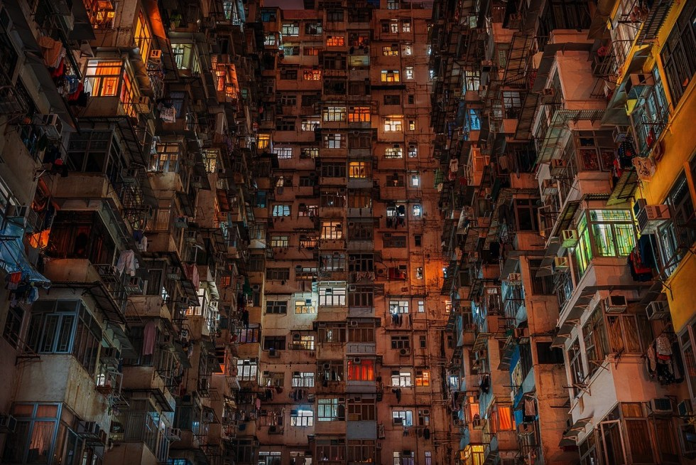 "A huge concrete building, called ""Monster Building,"" in Quarry Bay, Hong Kong."