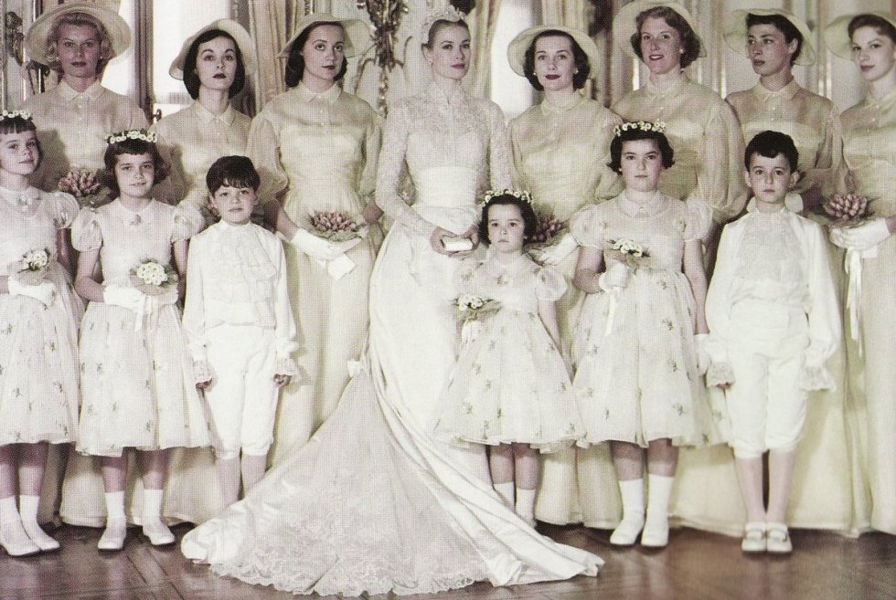 Grace Kelly's wedding entourage included her sister and Matron of Honor Peggy, six bridesmaids, and six junior attendants.