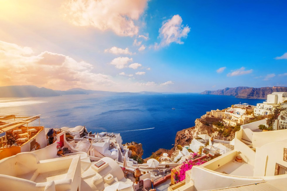 Oia, Santorini, GreecThe island of Santorini in Greece introduces its visitors to one of the best sunset spots in the world.