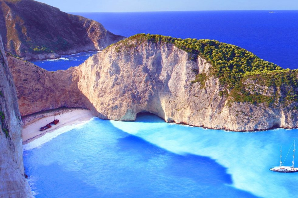 """Navagio Beach,"" also called ""Shipwreck Beach,"" in the Ionian island of Zakynthos in Greece."