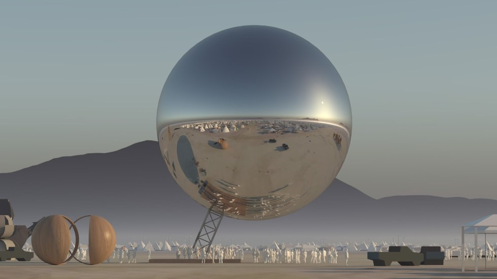 """The ORB"" art installation for the 2018 edition of Burning Man. Credit: BIG"