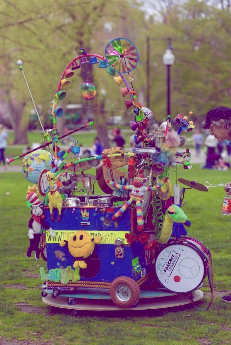 "Dan Friedman's whimsical multi-instrument music device also known as ""Professor World Band"", Massachusetts, United States."